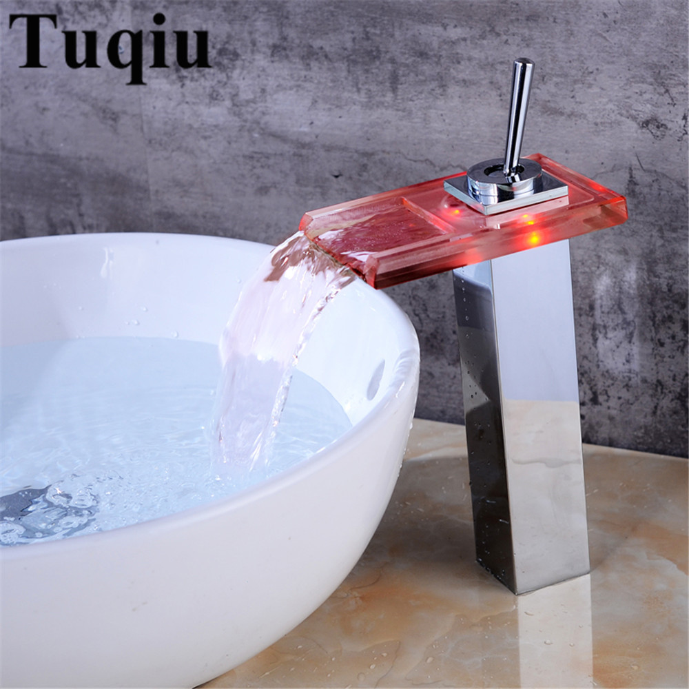 Bathroom Basin Faucet Chrome finished Brass Sink Mixer Tap LED Light Modern Waterfall Faucet Single Handle Hot Cold Water Taps ceramic single handle bathroom vanity sink mixer tap chrome finished