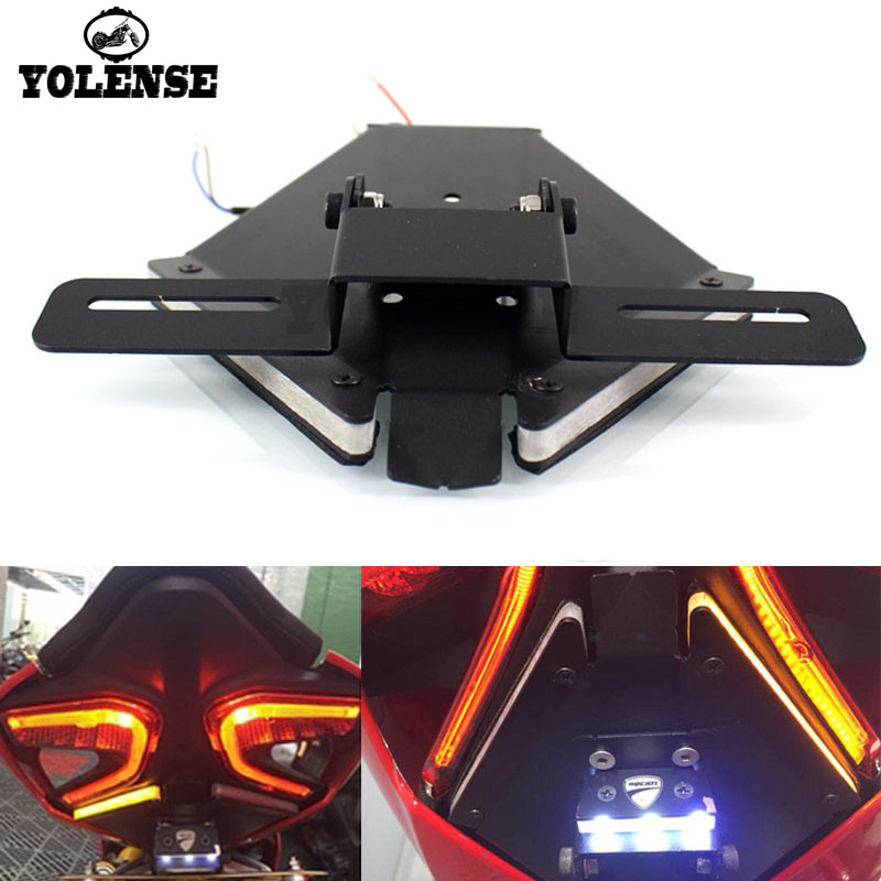 For DUCATI 899 959 1199 1299 Panigale Motorcycle Rear Tail Light Brake Turn Signals Integrated LED Lights License Bracket clignotants led panigale 899