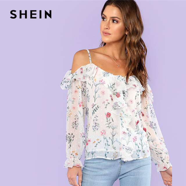 83677f7363c7b SHEIN Ruffle Trim Cold Shoulder Floral Top Women Spaghetti Strap Long  Sleeve Chiffon Blouse 2018 Summer Beach Vacation Blouse