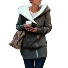 2018 Autumn Winter Women Hoodies Sweatshirts Warm Kpop Zipper Outerwear 3XL Plus Size Hooded Coat Casual Long Sweatshirt Femme