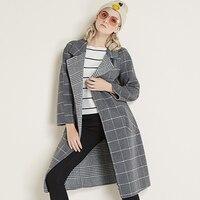 Куртка женская шерстяная смесь пальто корейский ремень пальто карман длинный женский кашемировое пальто пуговица зима женщина 2018 плюс раз