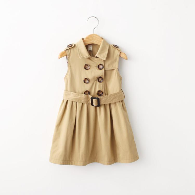 ФОТО Spring and autumn female child slim outerwear spring child double breasted turn-down collar top child trench dress