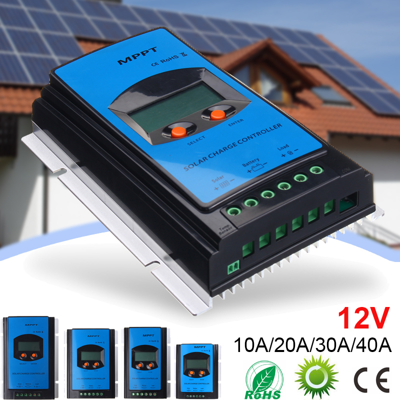 10A 20A 30A 40A 12V MPPT Solar Panel Charge Controller Battery Regulator LCD