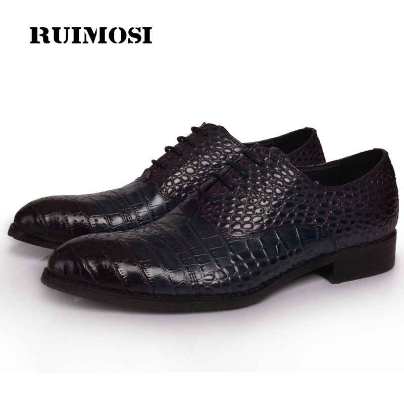 RUIMOSI New Arrival Man Crocodile Dress Shoes Genuine Leather Male Oxfords Round Toe Formal Luxury Brand Men's Flats YD48