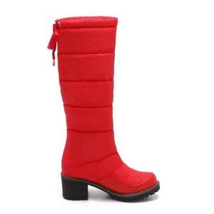 Image 4 - Taoffen 여성 겨울 무릎 높은 부츠 여성을위한 따뜻한 코 튼 신발 봉 제 모피 두꺼운 뒤꿈치 부츠 레이스 업 플랫폼 신발 크기 34 42