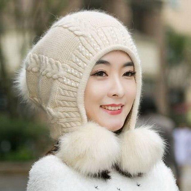 Шляпа женский осенью и зимой вязаная шапка вязаная шапка случайные вс-спички сладкие женщины открытый ветрозащитный держите теплую шапку кролика