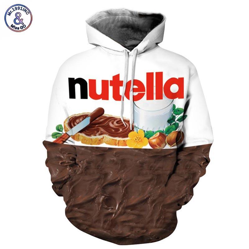 Mr.1991inc nueva Otoño Invierno hombres/mujeres Sudaderas con CAP imprimir Nutella alimentos hip hop 3D sudaderas HOODY tracksuits tops