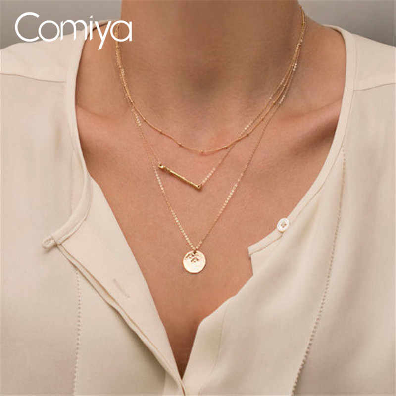 Comiya Stranger Things Charm 3 Layered Link Chain Long New Coin Simple Triple Necklace Layering Pendant Necklaces Sexy Women