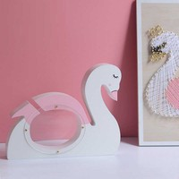 Ins Explosion Models Nordic Solid Wood Piggy Bank Coin Storage Box Glitter Swan Paragraph Children's Room Decoration