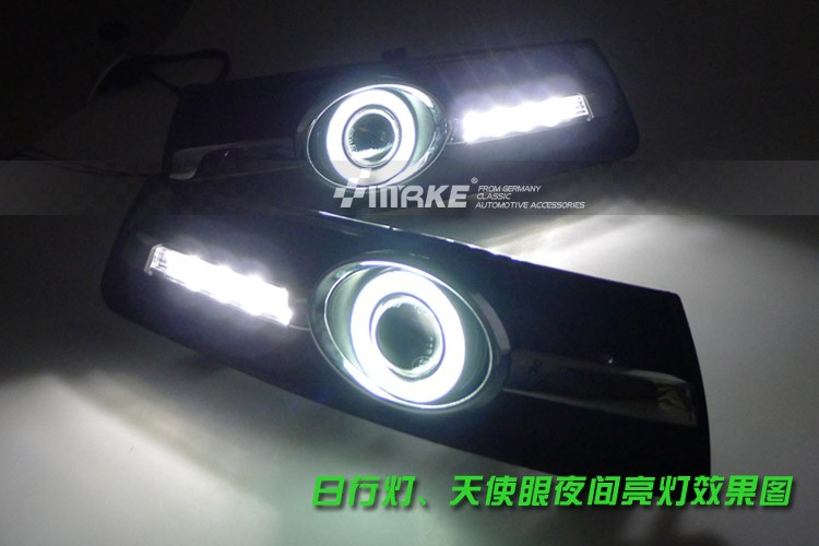 LED DRL daytime running light + COB angel eye, projector lens fog lamp with cover for volkswagen passat cc 2008-13, 2 pcs ownsun innovative super cob fog light angel eye bumper cover for skoda fabia scout