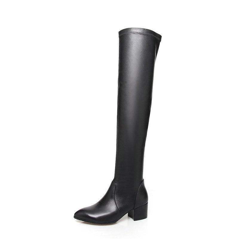 La Mujeres En Rodilla Botas Punta Cuadrados Invierno Zapatos Altos Tamaño 2018 Del Negro Dedo Tasslynn 43 Tacones De 34 Resbalón Pie Sobre Mujer wqCaE8
