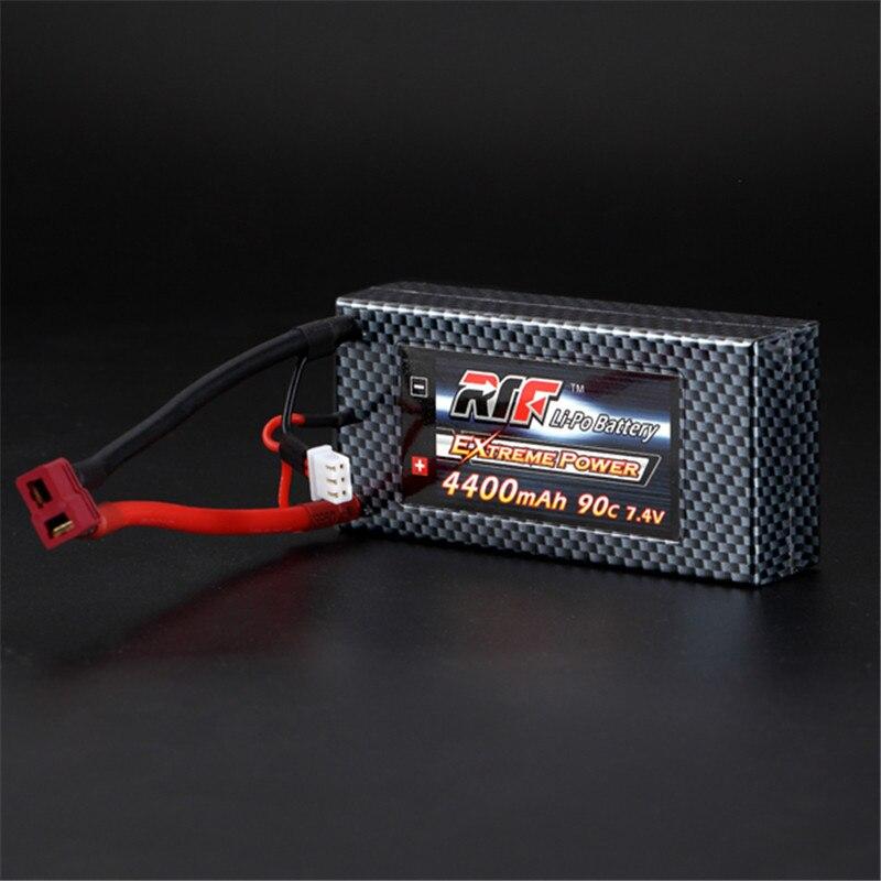 ФОТО High Quality Giant Power 7.4V 4400mAh 2S 90C Lipo Battery T Plug Hardcase Pack Split Connection For RC Model