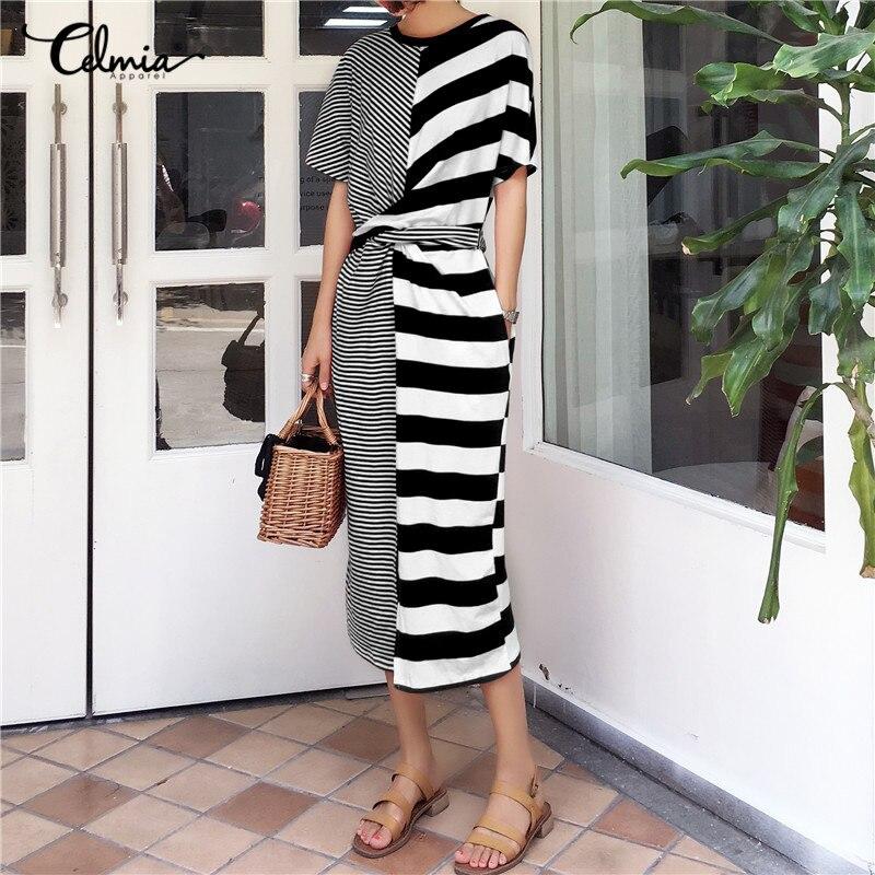 Celmia Oversized Vestidos Robe Femme 2018 Summer Women Striped Belted Split Shirt Dress Pockets font b