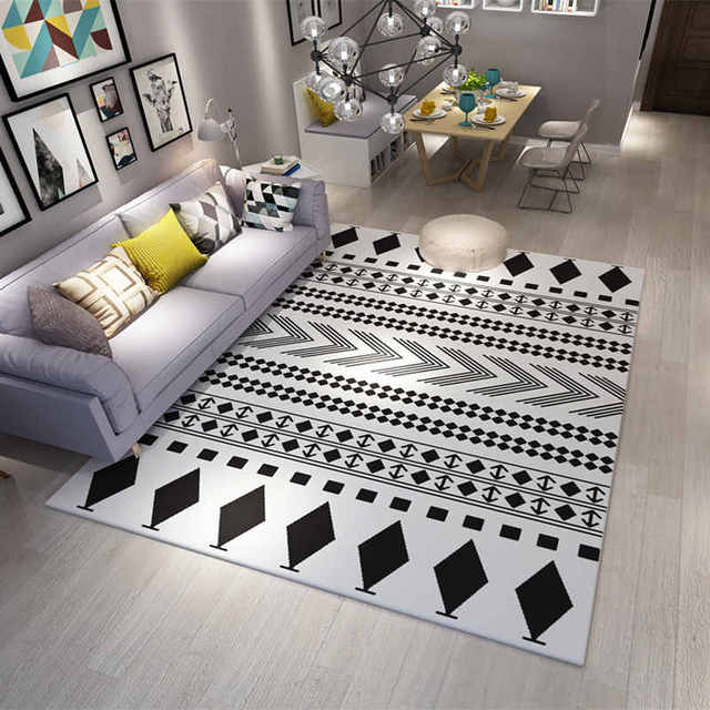 1200 1600mm Europe Carpets Large Area Rugs Washable Mat Black White Rectangle Carpet Living Room