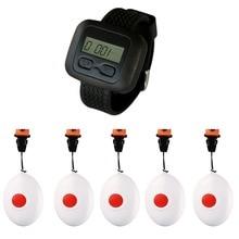 Singcall serviço de chamada de paginação sem fio para o sistema de alarme paciente, 1 receptor de relógio, 5 sinos com o colar