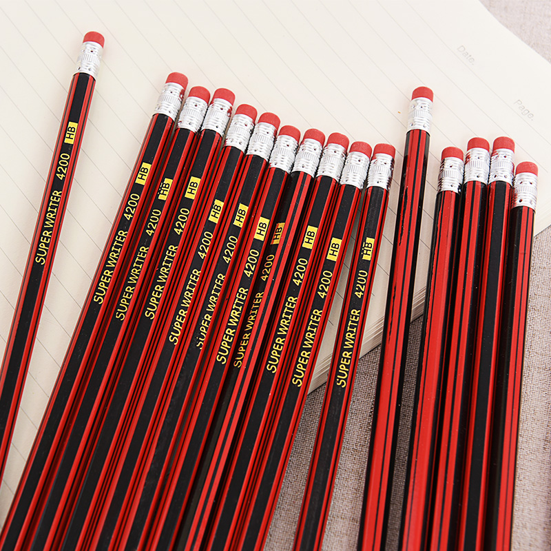 5pcs/set Classic Simplicity Pencil With Rubber Attached HB Writing Learn Drawing Pencil Sketch Stationery