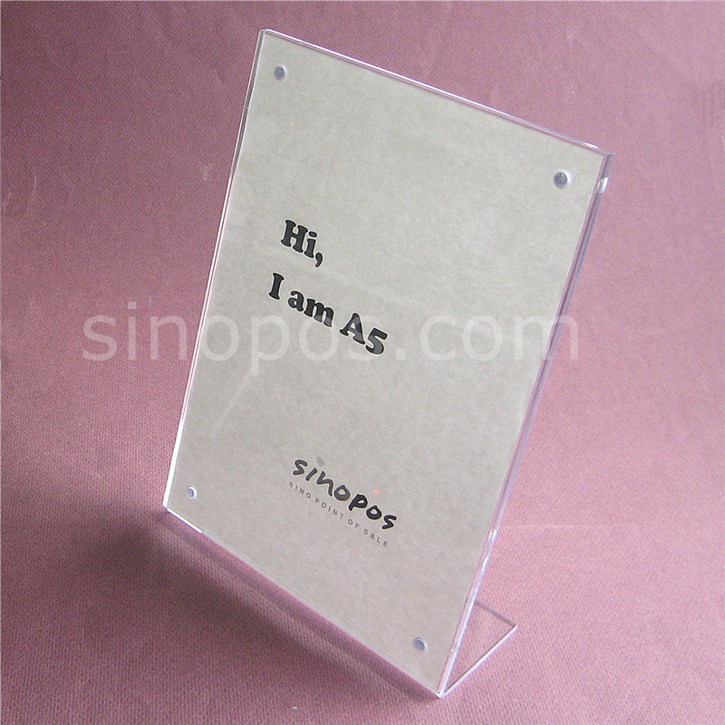 magnetic l slanted acrylic photo stand a5 a4 clear plastic frame tag card poster