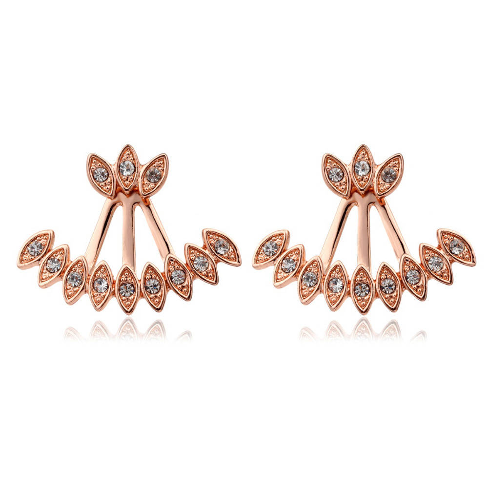 Aliexpress : Buy New Double Sided Rose Gold Plated Peacock Feather  Cluste Crystal Back And Front Swing Stud Earrings For Women Girls Jewelry  Aros From