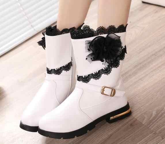 ใหม่แฟชั่นเด็กรองเท้าลูกไม้สีดำ elegant รองเท้าหนังผู้หญิงสูง - รองเท้าขาเด็กหิมะเด็ก ever after high boots
