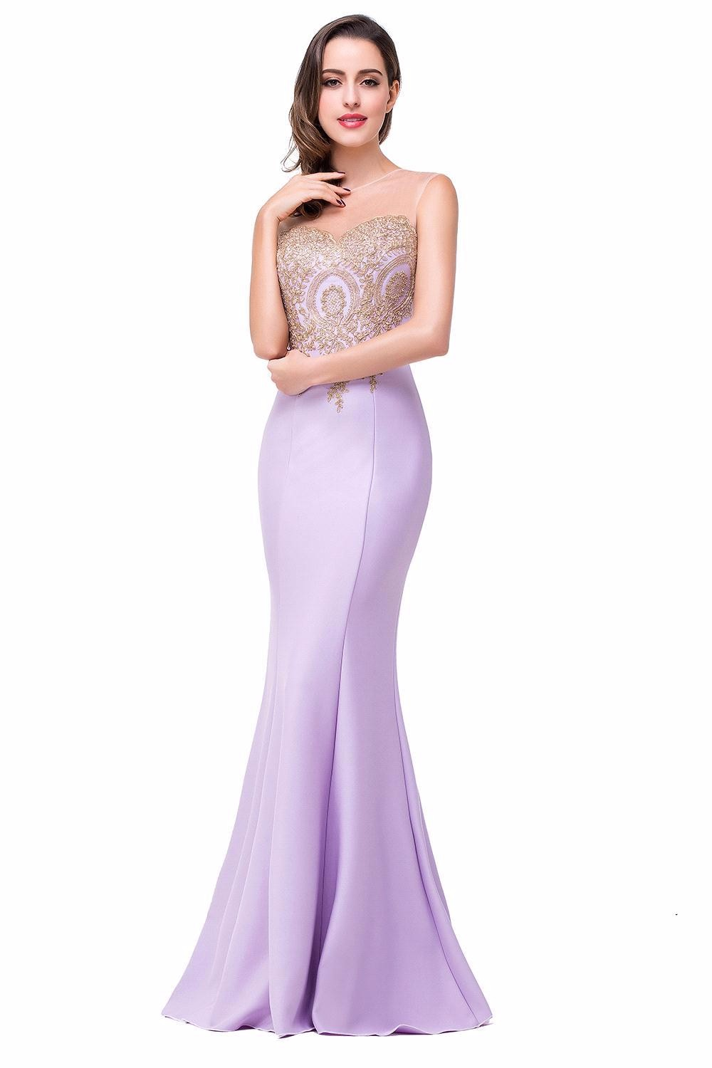 Free Shipping Elegant Gold Appliques Long Mermaid Lavender ...