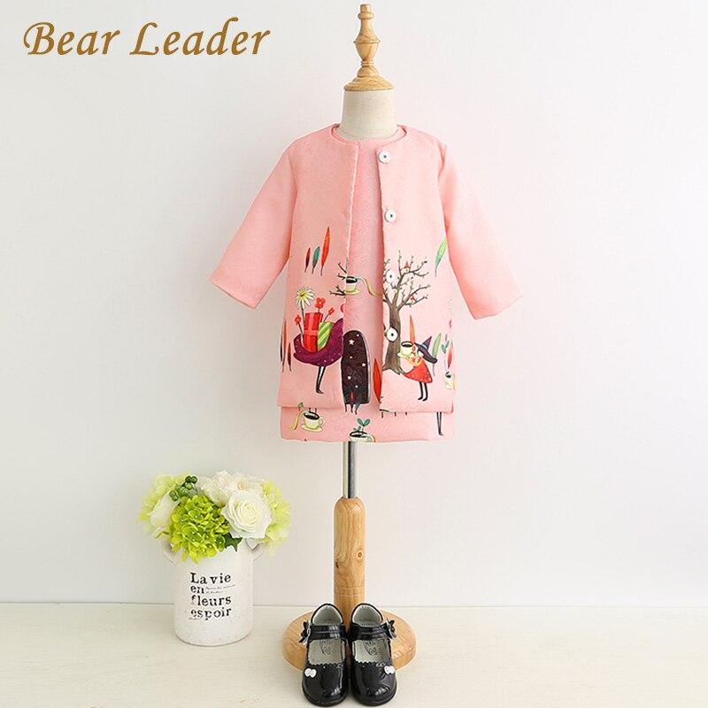 цена  Bear Leader Girls Clothes 2017 Brand Girls Clothing Sets Kids Clothes New Spring Clothing Animal Print Girl Coat+Dress 2Pcs Suit  онлайн в 2017 году