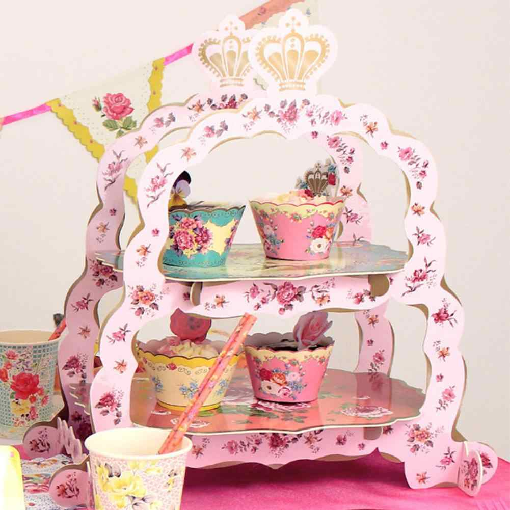 2 Tier Paper Cake Stand Pink Flower Wedding Dessert Cardboard Stand Tea Time Candy Dish Baby Shower Party Supplies