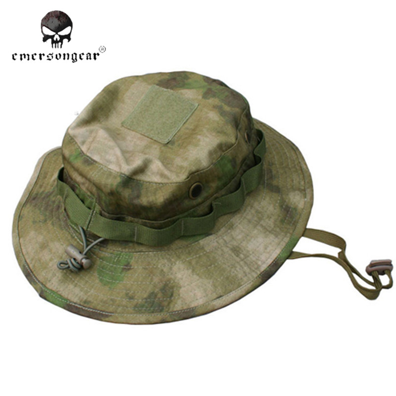 Best Emerson Tactical Camo Airsoft Sniper Bucket Hat Battle Rip Boonie Hats  A TACS FG Mens Hiking Fishing Hunting Cap Sports Sunhats Reviews ec2d36119af1