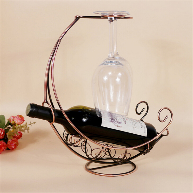 new creative fashion metal wine rack hanging wine glass ship shape