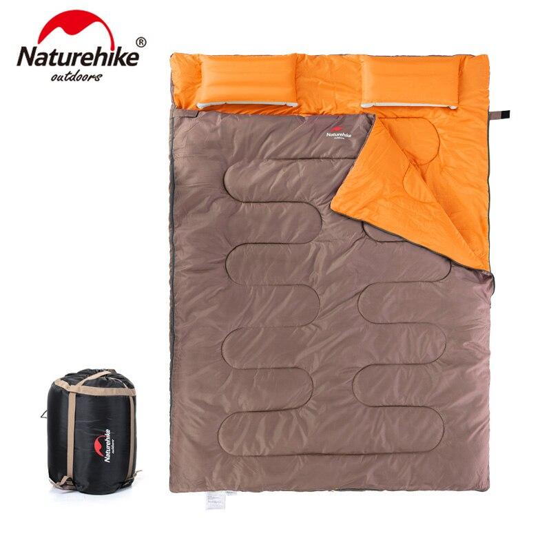 NatureHike para 2 personas Saco de Dormir con Almohadas del Algodón Divisible en Dos Sacos SD15M030-J