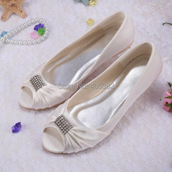 Wedopus Custom Crystals Rhinestone White Ivory Peep toe Bridal ...