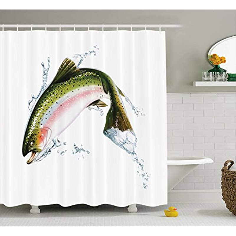 Vixm Fish Shower Curtain Salmon Jumping out of Water Making Splashes Cartoon Photorealistic Airbrush Fabric Bath Curtains