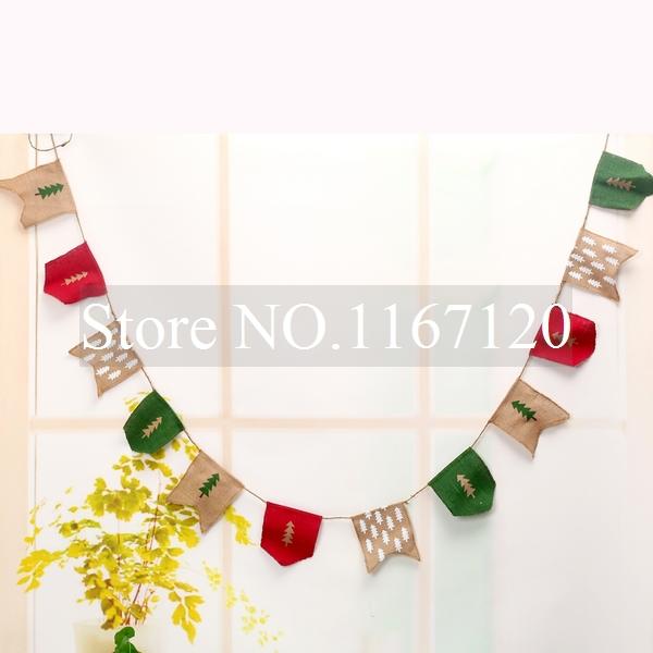 unidslote m rbol de navidad vintage bunting rstico arpillera arpillera bandera feliz