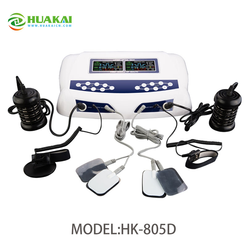 Dual Ion Detox Foot Spa Machine with Electrode Therapy Pads (HK-805D) 2014 new free shipping dual display hk 809 with waistbelts machine for pedicure