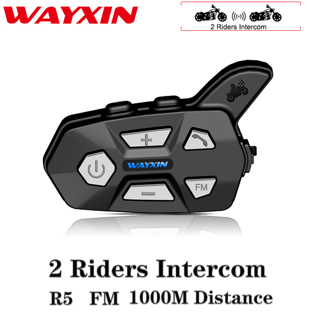 WAYXIN Helmet Headsets Bluetooth 2 Riders Intercom For Motorcycle R5 Motorcycle FM Bt Wireless Intercomunicador Interphone Mp3(China)