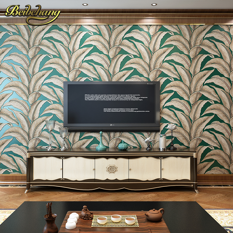 beibehang papel de parede 3d Banana leaves Wall Paper Home Decor TV Background Wall covering 3D flooring Wallpaper Living Room beibehang tree branches wallpaper papel de parede 3d modern vinyl wall paper for living room tv background home decor white wood