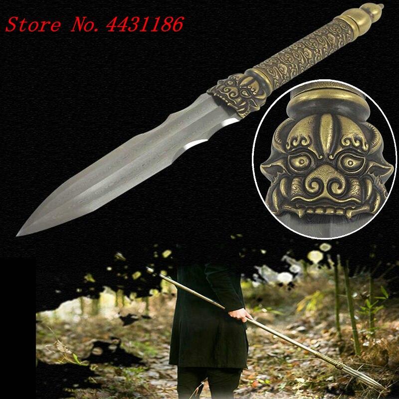 194 Cm * Stalen Handgreep Kungfu Lange Lance Wushu Spear Zwaard Damascus Staal Speerpunt Edge Sharp/lederen Schede Glanzend