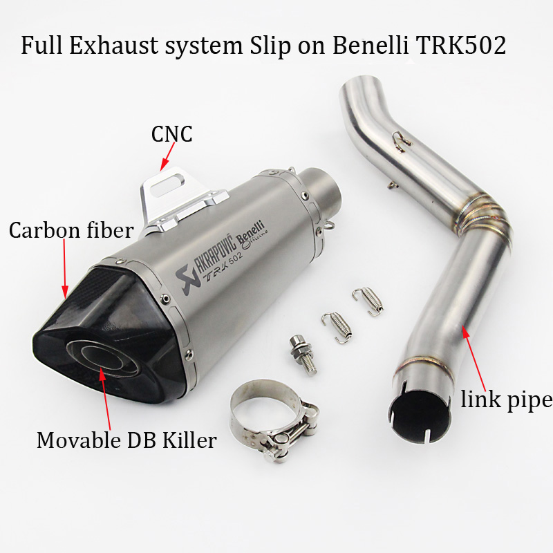 все цены на Slip on For Benelli TRK502 Full Exhaust Motorcycle System Muffler with Laser Marking Connection Link Pipe with DB Killer онлайн