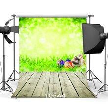 Décors de photographie Bokeh flou lapin vert oeufs de pâques herbe verte nostalgique rayure fond de plancher en bois