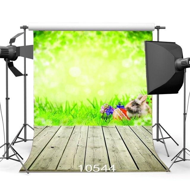 Fondo de fotografía Bokeh borroso conejo verde Pascua huevos hierba verde nostalgs raya suelo de madera