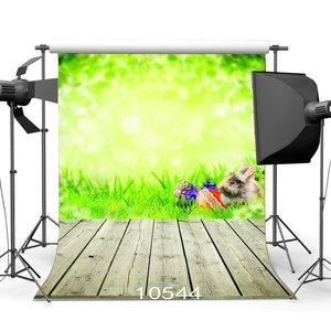 Image 1 - Fotografie Kulissen Bokeh Verschwommen Grün Kaninchen Ostern Eier Grün Gras Nostalgis Streifen Holzboden Hintergrund