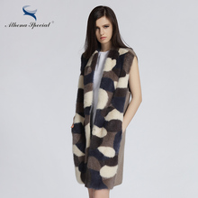 Athena Special Winter Fashion Camouflage Women Mink Coat And Genuine Cashmere Jacket Parka Stitching Mink Fur Wool Coats