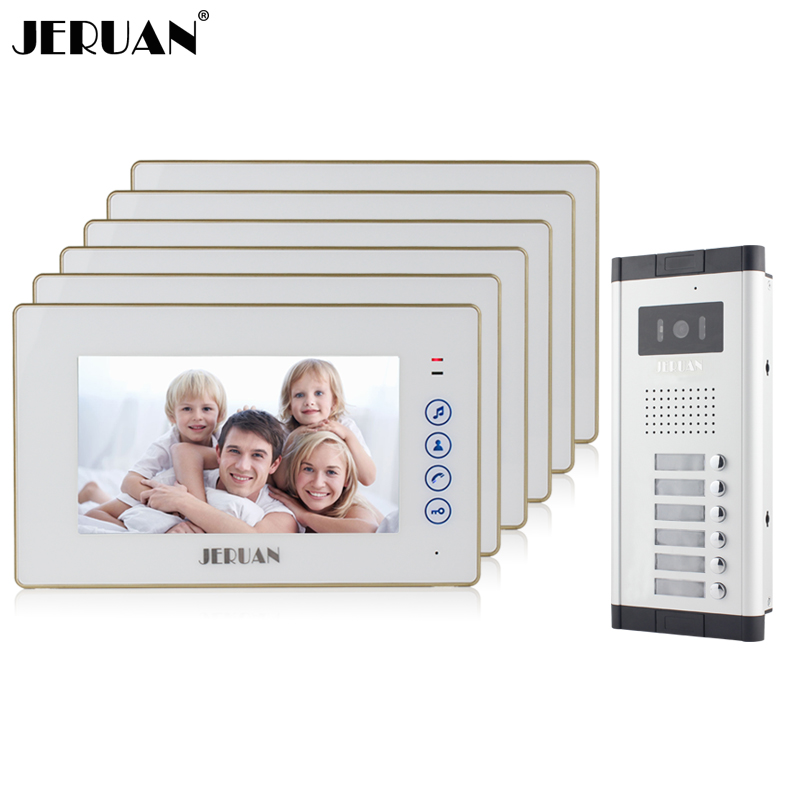 JERUAN Apartment Doorbell 7`` Touch key Video Door Phone Intercom System 6 Monitor 700TVL IR Night Vision Camera for 6 household my apartment