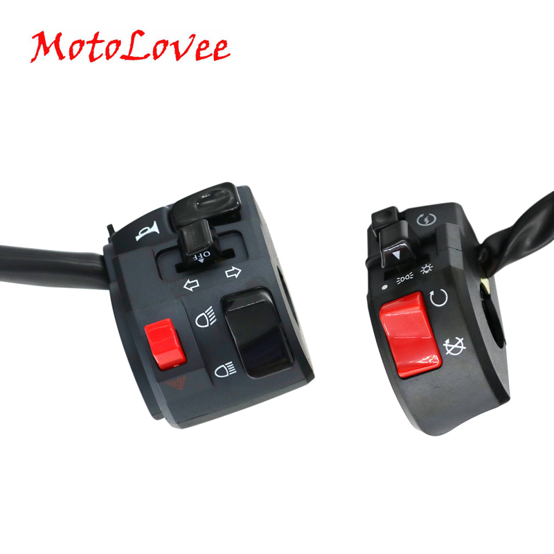 MotoLovee 22mm Motorcycle Switches Motorbike Horn Button Turn Signal Electric Fog Lamp Light Start Handlebar Controller Switch