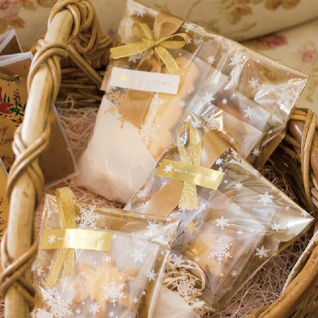 Большая распродажа, 50 шт./лот/, упаковка со снежинками, прозрачные самоклеящиеся пакеты для печенья, пакеты для печенья, посылка Упаковка конфет
