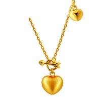 Чистый насыщенный 24 К желтый золотой кулон сердце Цепочки и ожерелья цепь 4.97 г