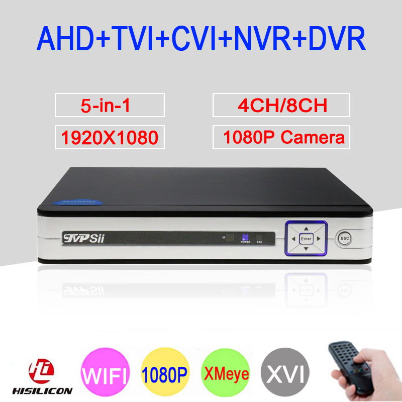 Silver Panel 4 Channel 8 Channel 4CH/8CH 1080P Full HD 5 in 1 Coaxial Hybrid Onvif WIFI NVR CVI TVI AHD CCTV DVR Free Shipping silver panel hi3521a 5 in 1 xmeye 4 channel 4ch 1080p 2mp 25fps realtime hybrid coaxial nvr tvi cvi ahd cctv dvr free shipping