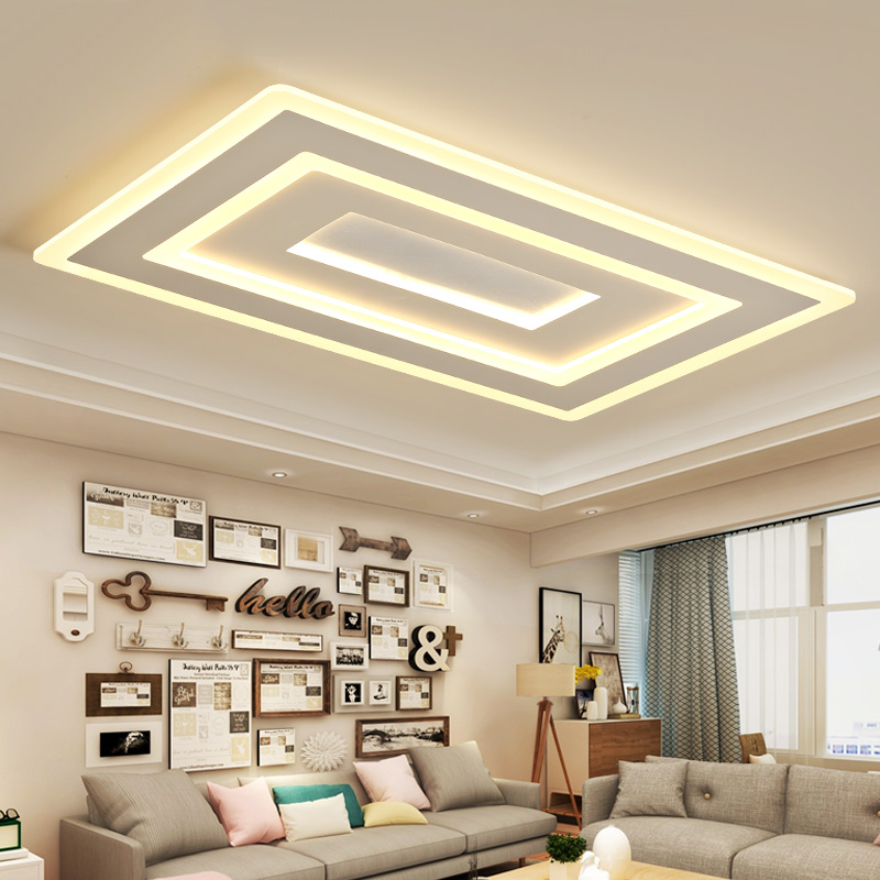 White Square Modern Led Chandelier lustre For Living Room Bedroom Study Room Home Deco AC85 265V