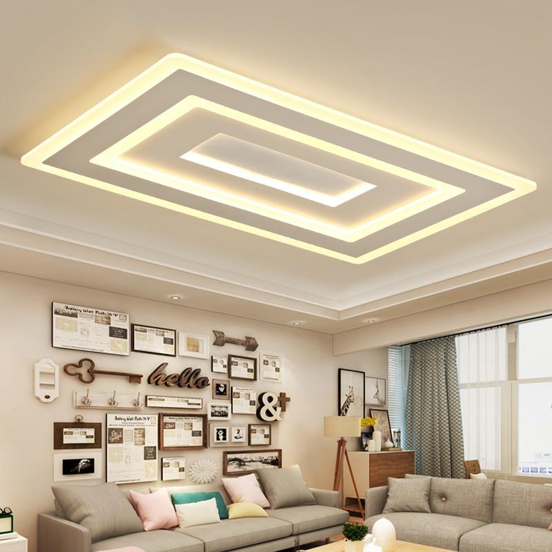 White Square Modern Led Chandelier lustre For Living Room Bedroom Study Room Home Deco AC85 265V