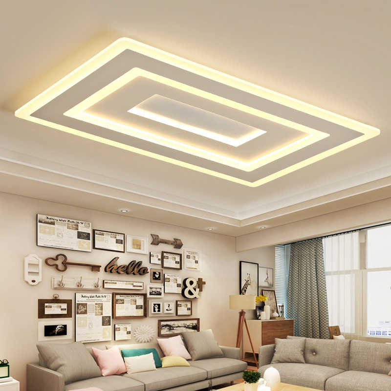 White Square Modern Led Chandelier lustre For Living Room Bedroom Study Room Home Deco AC85-265V chandelier lighting