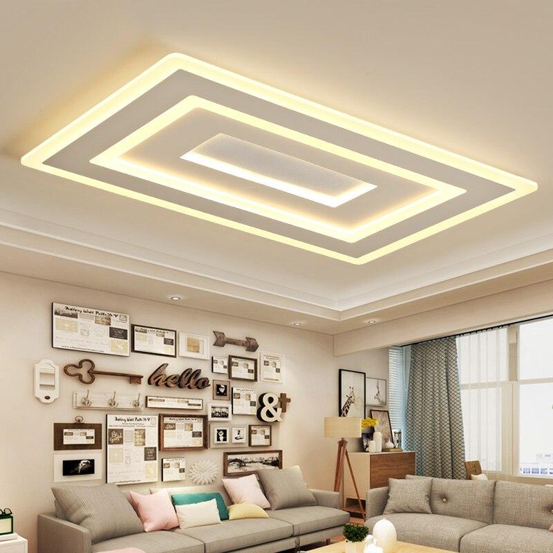 Blanc Carré Moderne LED lustre lustre Pour Salon Chambre Salle D'étude Maison Déco AC85-265V lustre éclairage